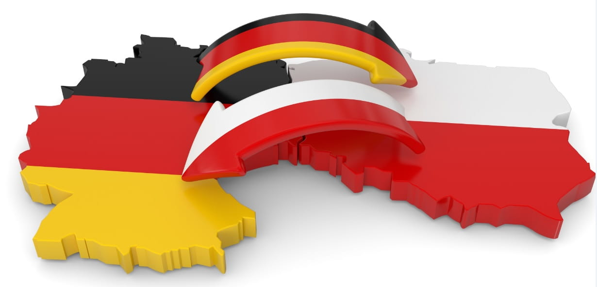 A graphic symbolises contacts between Germany and Poland.