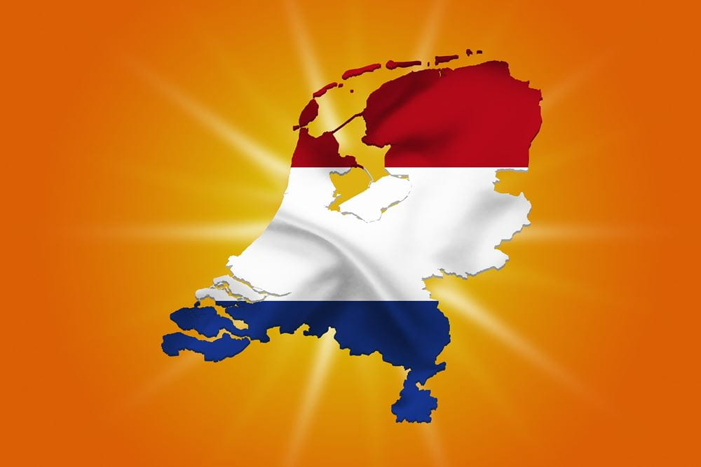 Geographical outlines of the Netherlands in the colours of the national flag on an orange background.